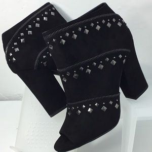 Jessica Simpson Black Microsuede Ankle Booties